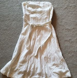 White strapless knee length dress